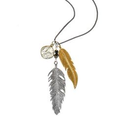Brave Lotus - Feathered Talisman Necklace ($105) ❤ liked on Polyvore featuring jewelry, necklaces, boho style jewelry, feather charm, charm jewelry, bohemian jewelry and cream jewelry