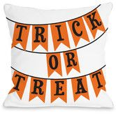 Found it at Wayfair - Trick or Treat Banners Woven Polyester Throw Pillow