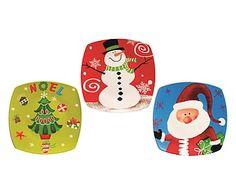 Set di 3 piatti panettone in ceramica Natale, 24x24 cm
