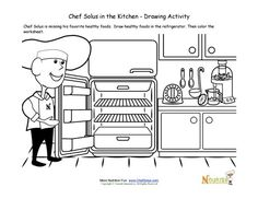 Chef Solus' refrigerator is empty!  Kids will help the chef by drawing healthy foods inside the refrigerator in the cute drawing and coloring activity for younger children.