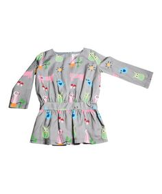 Another great find on #zulily! Gray & Green Cat Dress - Infant, Toddler & Girls by Lourdes #zulilyfinds
