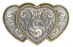 Engraved Triple Hearts Gold / Sterling Silver Plated Ladies' Western Belt Buckle #Unbranded