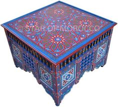Moroccan square blue table - good colors for the top.