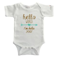Cute in Hello World Baby Bodysuit / 2017 Baby (3-6 Months, White - Short Sleeve). 100% Soft White Cotton. Machine Wash. This Cute in Hello World Bodysuit makes the perfect gift for the new bundle of joy arriving in 2018. PLEASE MAKE SURE YOU ARE PURCHASING FROM CUTE IN - THERE ARE HACKERS SELLING FRAUDULENT PRODUCTS UNDER THE CUTE IN TRADEMARKED NAME. AMAZON HAS DONE NOTHING TO PREVENT THIS. THESE FAKE PRODUCTS ARE OF EXTREMELY POOR QUALITY AND COULD BE UNSAFE. BE SURE YOU ARE PURCHASING...