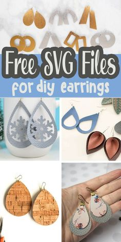 cricut vinyl projects amazing and free svg cut files to make the most beautiful diy earrings. Earrings for all occasions and seasons with these free svg cut files for crafty creating. Diy Leather Earrings, Diy Earrings, How To Make Earrings, Bride Earrings, Hoop Earrings, How To Make Leather, Real Leather, Cricut Craft Room, Cricut Vinyl