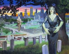Plan 9 from Oakland Cemetery - This is a historic cemetery near downtown Atlanta. I have painted Vampira and Tor from Plan 9 from Outer Space into it.