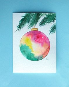 Watercolor card, ( No.227), Christmas card, Christmas ornament, greeting card, Christmas, ornament, holiday, original art,blank inside by le...