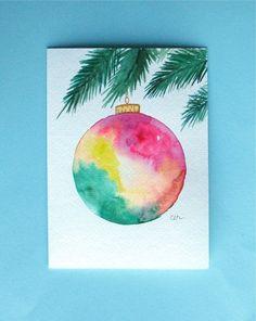 Watercolor card, ( No.227), Christmas card, Christmas ornament, greeting card, Christmas, ornament, holiday, original art,blank inside by lea