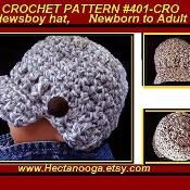 401-CRO, Newsboy Hat, baby to adult - via @Craftsy