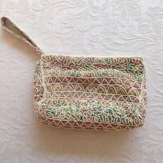 """Pretty beaded clutch purse. Elegant beaded clutch. Zip closed. Fully lined. Condition is excellent. Aprox. 6"""" w x 4.5"""" H Bags Clutches & Wristlets"""