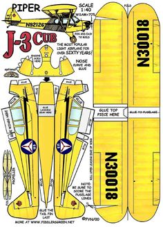 Paper Airplane Models, Model Airplanes, Piper J3 Cub, Paper Toys, Paper Crafts, Free Paper Models, Paper Magic, Jumping Jacks, Cubs