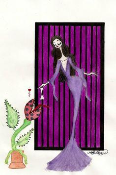 Morticia Addams Morticia Addams, The New Yorker, Disney Characters, Fictional Characters, Aurora Sleeping Beauty, Disney Princess, Art, Latin Words, Wednesday Addams