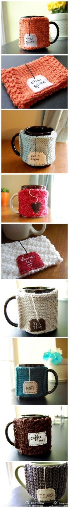 Simple DIY coffee holder using old sweater sleeves