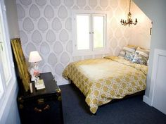 "Katie Ridder's ""Leaf"" wallpaper in a bedroom decorated by HGTV's Emily Henderson"