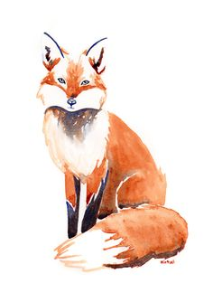 Fox Art Print by Happy Hirtzel | Society6