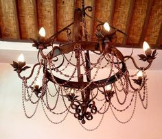 beaded iron chandelier