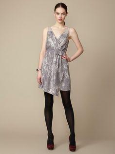 Geren Ford  Silk Gathered Wrap Dress