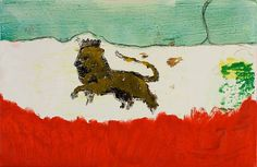Lion in sand Peter Doig