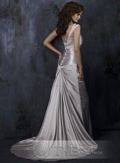 Gray A Line One Shoulder Wedding Dresses Chapel Train (BACK)