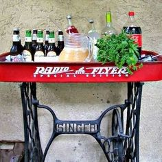 DIY minibar from upcycled wagon and sewing machine table