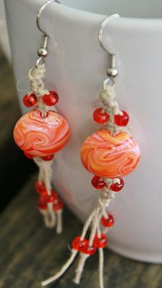 Orange Earrings Hemp Earrings Creamsicle by Islandjunkie09 on Etsy, $7.50