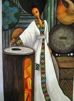 Ethiopia: A painting of a beautiful Ethiopian woman making injera.