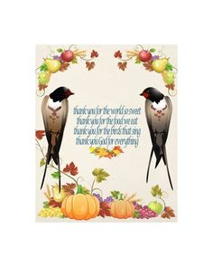 Thanksgiving Prayer Image, Fall Swallow Image, Bird Image, Childs Prayer Quote, Poster Wall Art,Autumn Wall Décor, Family, Dining Room Décor by ICreateAndCollect on Etsy