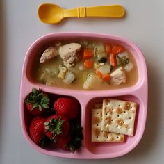 """""""Chicken noodle soup for this lovely rainy evening. I'll post the way I made it soon! @replayrecycled #bigbossledweaning #blw #babyfood #blw #blwideas…"""""""