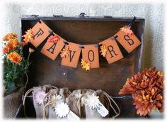 FAVORS Banner for your Autumn WEDDING or SHOWER in rustic fall colors