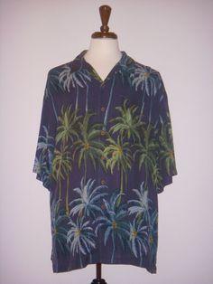 TOMMY BAHAMA Hawaiian SHIRT Blue Green SILK Size 2XB / Big 2X #TommyBahama #Hawaiian