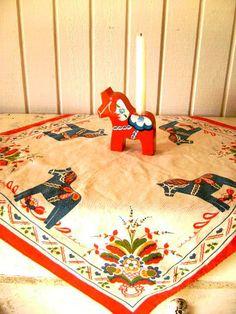 Vintage Swedish Dala Horse Tablecloth Souvenir by junquegypsy, $28.60