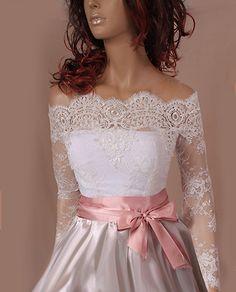 Bridal  lace bolero   Off-Shoulder / French Lace/ wedding jacket/ shrug/  jacket /bridal lace top by UpToDateFashion on Etsy https://www.etsy.com/il-en/listing/206022103/bridal-lace-bolero-off-shoulder-french