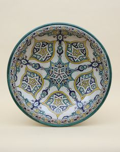 Handmade Green Moroccan Ceramic Fruit Bowl with Fes Design