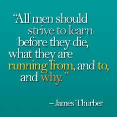 'All men should strive to learn before they die, what they are running from, and to, and why.' -James Thurber