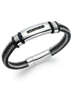 Men's Black Diamond Bracelet in Nylon and Stainless Steel (1/10 ct. t.w.)