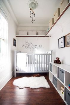 Baby room small space tiny nursery storage 15 new ideas Small Space Nursery, Small Rooms, Small Spaces, Small Baby Space, Spare Room Ideas Small, Small Nursery Layout, Nursery Ideas Neutral Small, Small Baby Nursery, Baby Bedroom