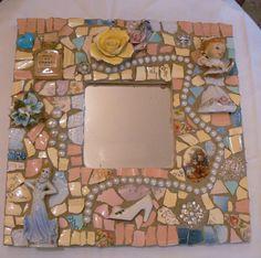 Pique Assiette Mosaic Mirror    Made to Order   Broken China Mosaic Vintage China. $65.00, via Etsy.