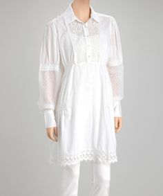 Look at this White Eyelet-Trim Tunic on #zulily today!