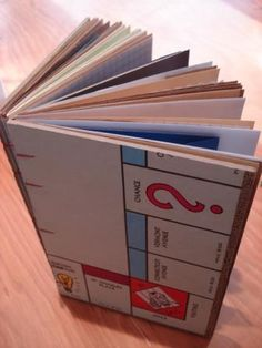 "This book is made from a vintage Monopoly game board and has lots of cool pages, including some made of envelopes for stashing all your neat ideas.  Measures about 8"" x 5""."