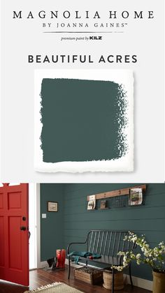 First impressions are everything. Make a bold statement in the front entryway of your home with a little help from the Magnolia Home by Joanna Gaines™ Paint collection. The deep olive, forest green hue of Beautiful Acres pairs with a bright red front Farmhouse Interior, Farmhouse Chic, Exterior House Colors, Exterior Paint, Layout Design, Design Ideas, Green Front Doors, Red Doors, Pintura Exterior