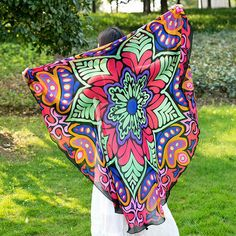 150X150cm Round Thin Chiffon Beach Yoga Towel Octagonal Flower Tapestry