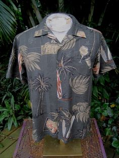 HAWAIIAN Aloha SHIRT S pit to pit 21 BOCA CLASSICS silk cocktails surf boards #BocaClassics #ButtonFront