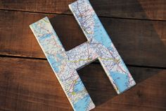 """Vintage Map Covered Letter - """"H"""" - Home Decor, East Coast, 3 Dimensional, Free Standing"""