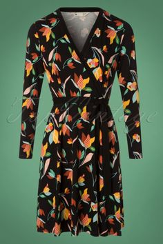 Yumi Colourful Tulip Print Swing Dress in Black 102 14 25699 20180821 Vintage Tops, Retro Vintage, Swing Dress, Tulips, Wrap Dress, Color, Black, Dresses, Fashion