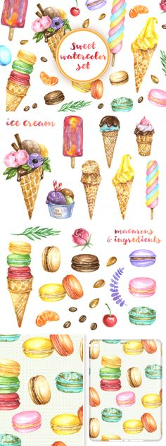 Sweet summer coming now! Watercolor hand drawn collection of sweet desserts - colorful french macarons, ice cream in waffle cones and decoration - rosemary, coffee beans, cherry and etc.