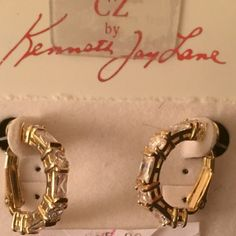 Gorgeous SIGNED ORIGINAL KENNETH JAY LANE (KJL) CZ These are signed original earrings KJL by KENNETH JAY LANE!  They are beautiful CZ hoop earrings, done in gold plate, and look rich and REAL. HOW RARE IS THAT?? Kenneth Jay Lane Jewelry Earrings