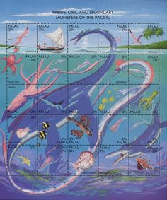 legendary monsters of the world   circa 1993 two 29 cent stamps printed in the republic of palau as part ...