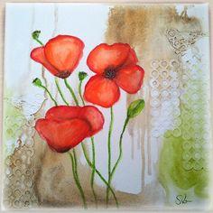 Mixed Media Canvas Mohnblume, Poppy Flower mit Gelatos