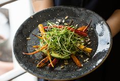 ABC Kitchen's Roasted Carrots and Citrus Salad: Using heirloom carrots, with their range of colors, made all the difference aesthetically. Try and find those, and super fresh pea shoots or sunflower sprouts for the greens.