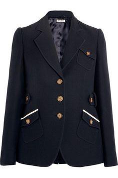 Miu Miu - Wool And Silk-blend Blazer - Navy - IT40